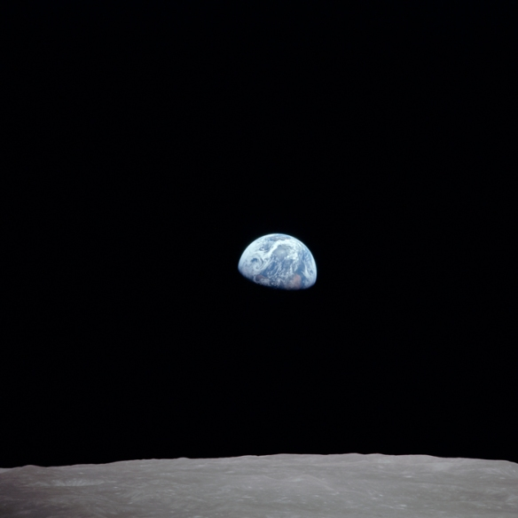 Earth over the horizon of the moon. Apollo 8 Mission.